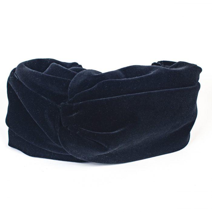 Turban Lila drapé en velours noir