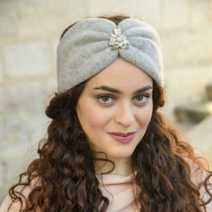 Turban en laine alpaga et strass cristal
