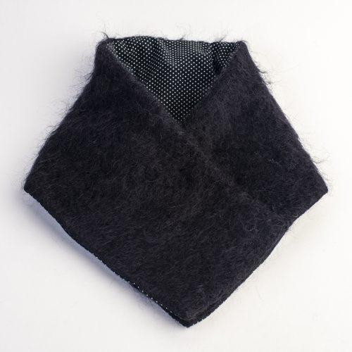 Echarpe Flora en mohair noir doublé coton à pois
