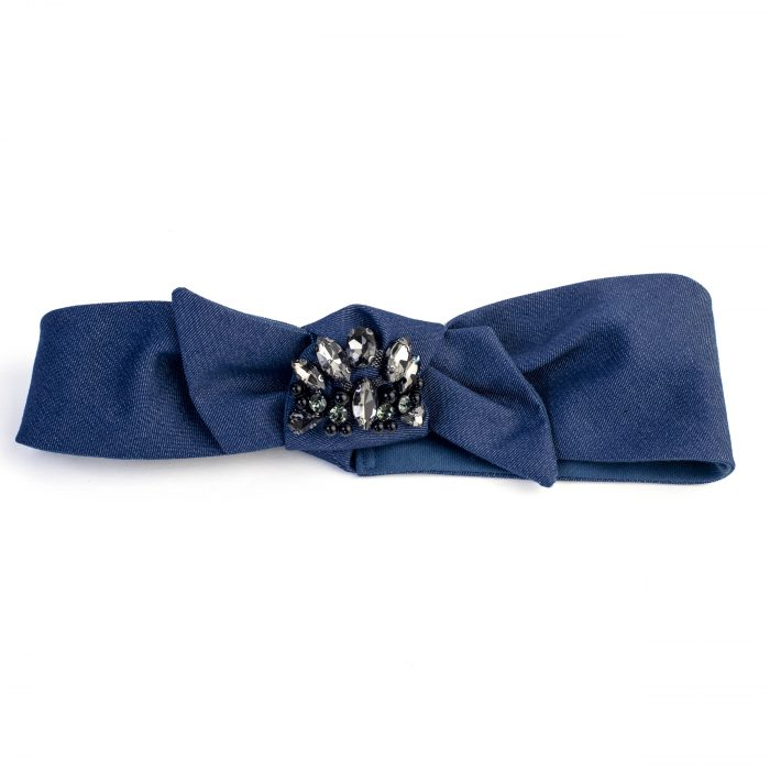 Turban Annie en denim bleu marine et strass, noeud