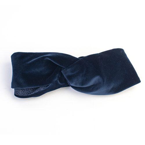 Turban Angèle en velours bleu marine et doublé coton à pois