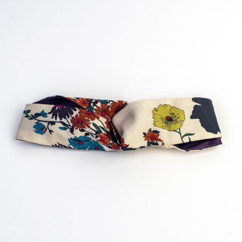 Turban Sakura en soie à motifs floraux