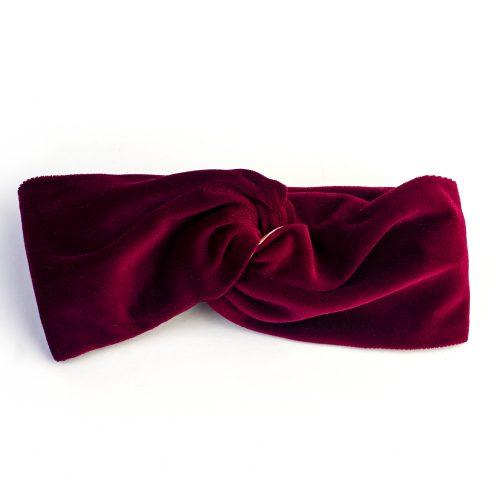Turban Edith en velours rouge et doublé coton imprimé
