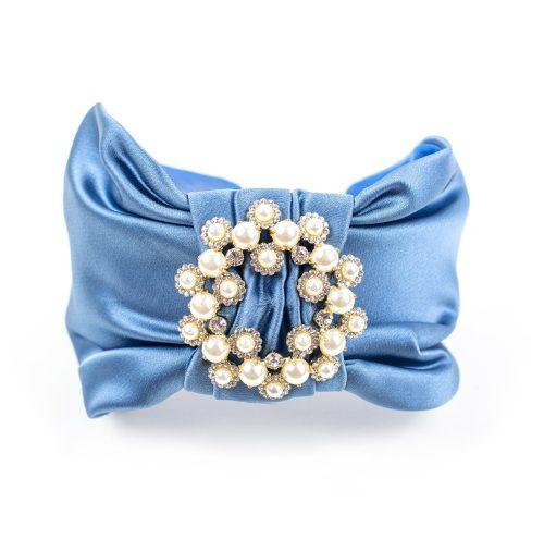 Serre-tête Crystal en satin bleu clair et strass
