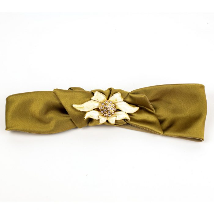 Turban Megane en satin jaune avec noeud et strass