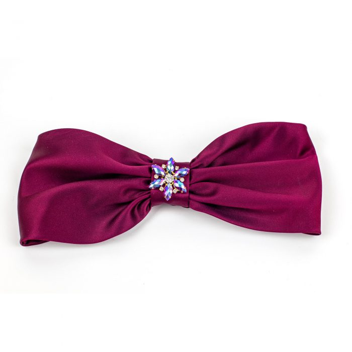 Turban Vanessa en satin bordeaux et strass