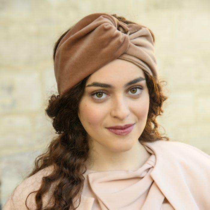Turban Carla petit drapé en velours rose
