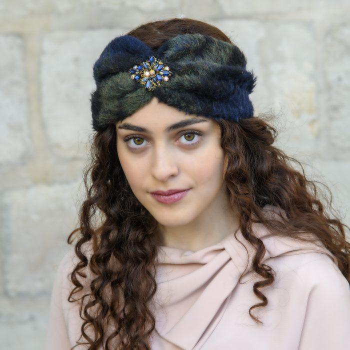 Turban en mohair vert et strass Sofia