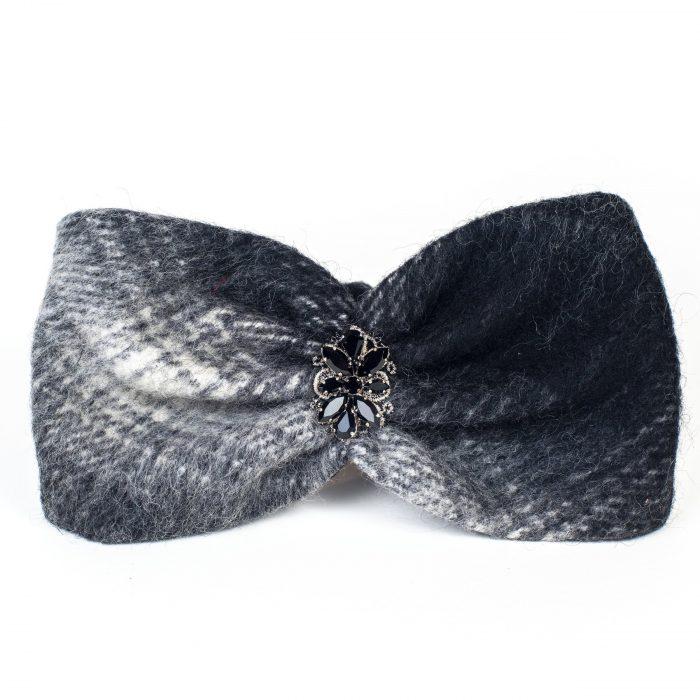 Turban Joy en mohair à carreaux noir et blanc avec strass
