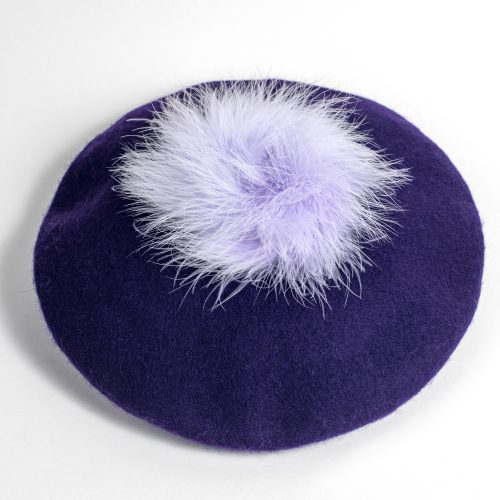 Beret Victoire violet en laine et plumes d'oie violettes