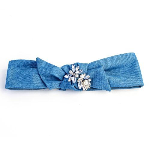 Turban Noella en denim bleu clair et strass, noeud