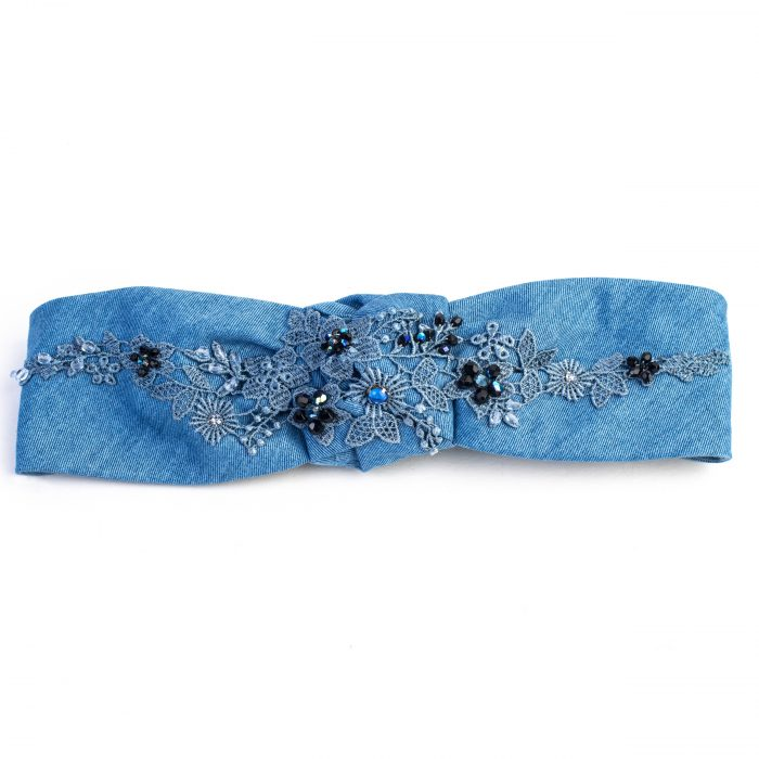 Turban Venus en denim bleu clair et broderies