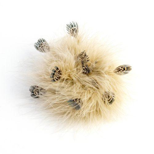 Pince Tiana beige en plumes de faisan et de dinde