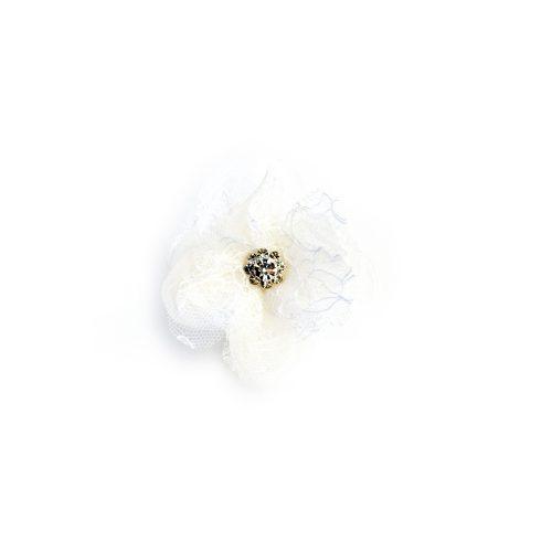 Pince Cassandre à dentelle blanche et strass