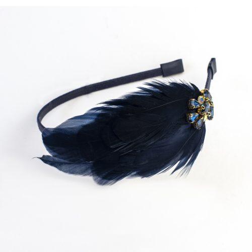 Serre-tête Megumi à plumes de coq bleues et strass