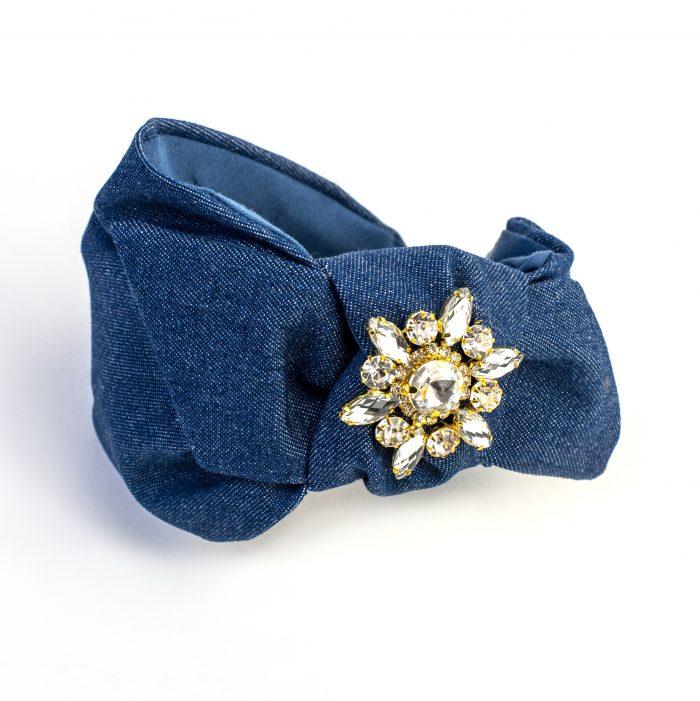 Serre-tête Sayuri en denim bleu marine avec noeud côté et strass