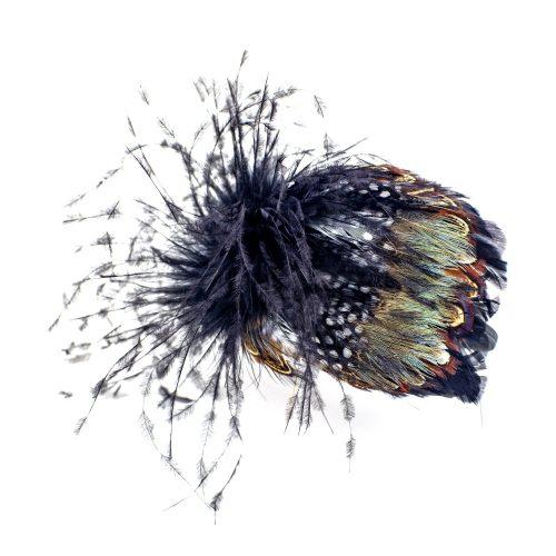 Serre-tête noir Evelyn en plumes d'autruche