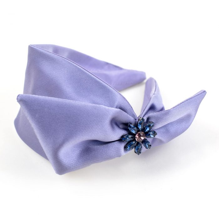 Serre-tête Anastasia en satin violet, strass et noeud côté