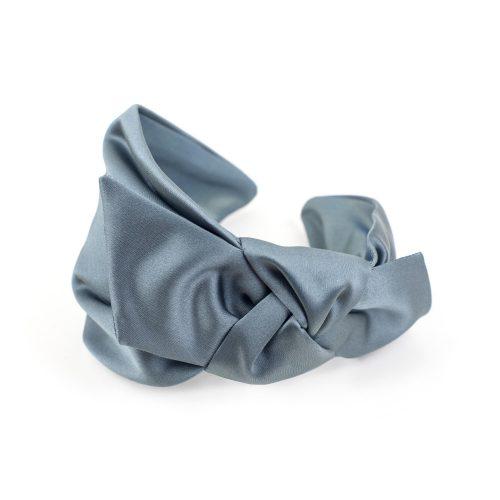 Serre-tête Arya en satin gris bleu et noeud côté