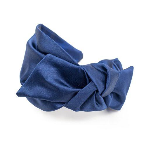 Serre-tête Tiffany en satin bleu marine et noeud côté