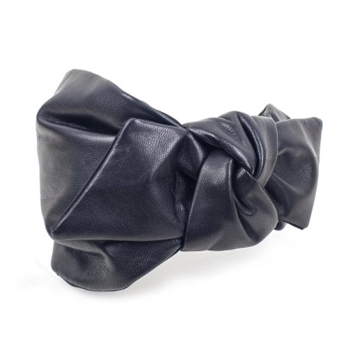 Serre-tête Leyla en cuir noir et noeud côté