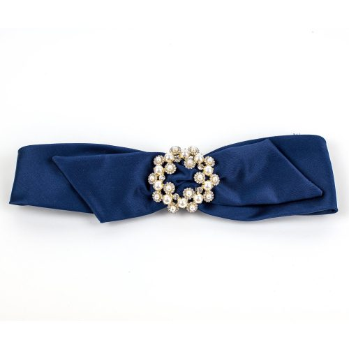 Turban Harmony en satin bleu marine avec noeud et strass