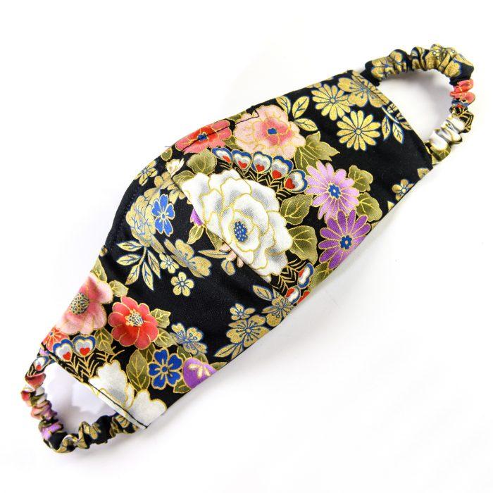 masque-coton-du-japon-noir-or-fleurs-doublure-coton