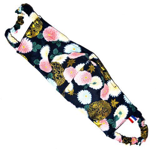 Masque Coton Du Japon Marine Or Rose Fleurs Doublure Coton Johanna Braitbart