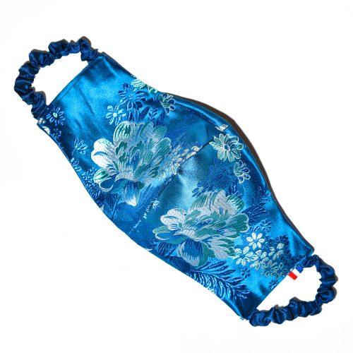 Masque Fleurs Soie Bleu Doublure Soie Johanna Braitbart