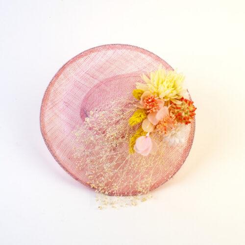 Bibi sisal rose fleurs soie et fleurs séchées