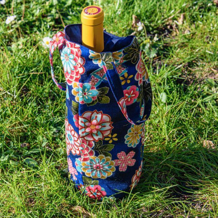 Sac A Bouteille Coton Japon Bleu Fleurs