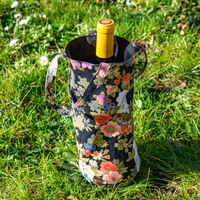 Sac A Bouteille Coton Japon Noir Fleurs