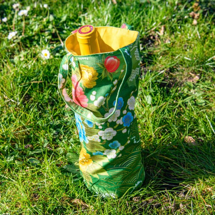 Sac A Bouteille Coton Japon Vert Fleurs