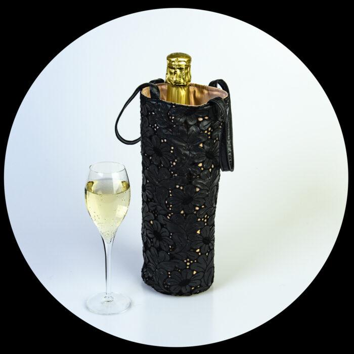 sac à bouteille à motif dentelle noir doublure champagne