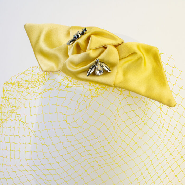 pince noeud satin voilette jaune strass cristal