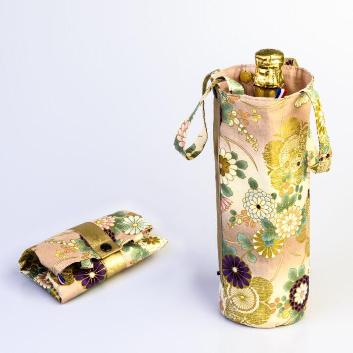 sac a bouteille coton du japon fleurs rose or