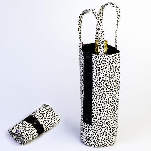 sac à bouteille motif dalmatien, bande cuir noir