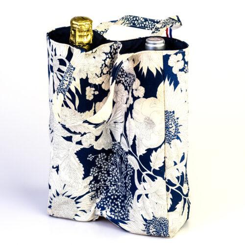 sac deux bouteille coton fleurs marines blanc