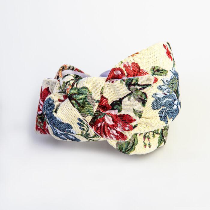 serre-tete tapisserie à fleurs ivoire rose