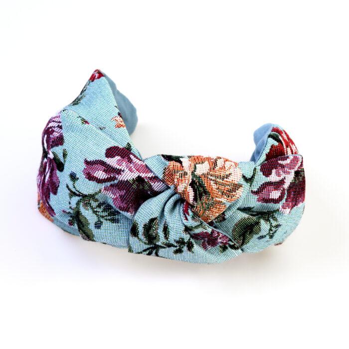 Serre Tete Turquoise Fleuri Tapisserie Noeud