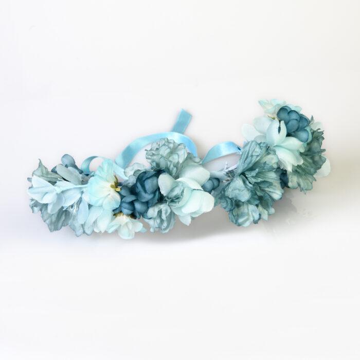couronne de fleurs de soie turquoise ciel