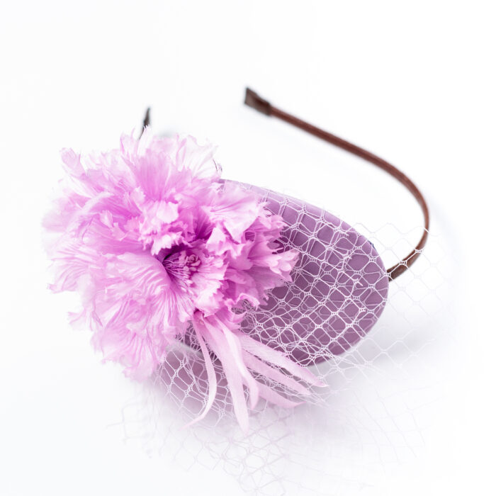 Bibi Cuir Voilette Fleur Soie Mauve